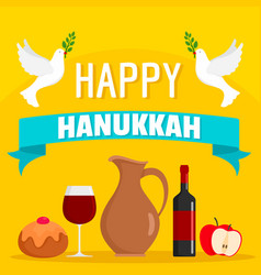 happy hanukkah food concept background flat style vector image