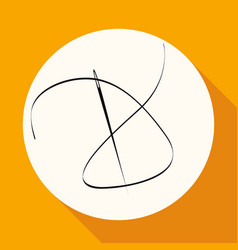 icon needle on white circle with a long shadow vector image