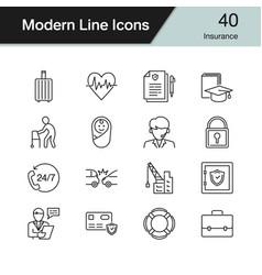 Insurance icons modern line design set 40 for vector