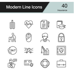 insurance icons modern line design set 40 for vector image