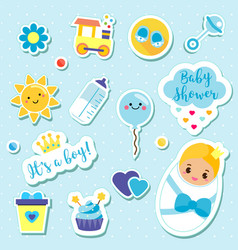 It s a boy stickers set in blue colors kids vector