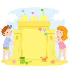 kids building a sand castle with copy space vector image