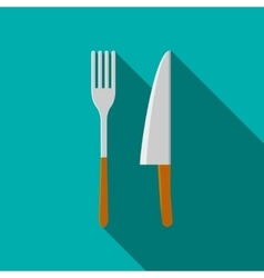 Knife and fork icon in flat style vector