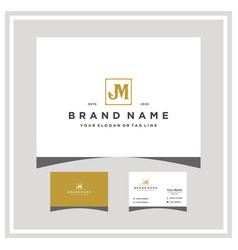 Letter jm logo design and business card vector
