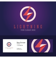 Lightning logo and business card template vector image