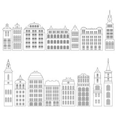 line drawing houses vector image