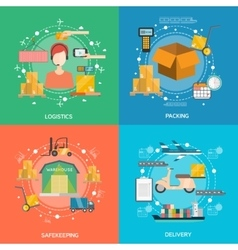 Logistics Concept Icons Set vector image