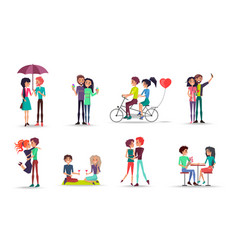 loving man and woman in different environment vector image