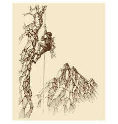 man climbing a rocky mountain wall wallpaper vector image