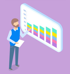 Man presenting business statistic application vector