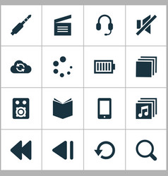 Media icons set with movie clap amplifier sound vector