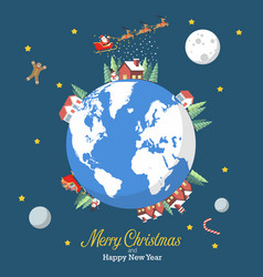 merry christmas and happy new year with earth vector image