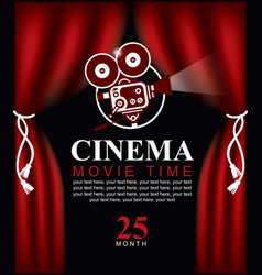 Movie time poster with old fashioned camera vector