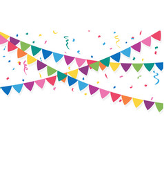 party flags with confetti and ribbons vector image