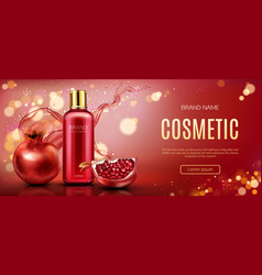 Pomegranate cosmetic bottle mock up beauty banner vector