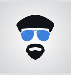portrait of man in ivy cap and blue sunglasses vector image