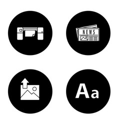 Printing glyph icons set vector