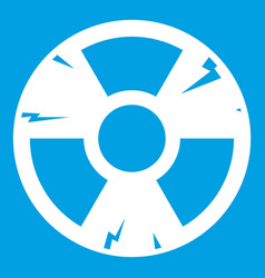 Radiation sign icon white vector