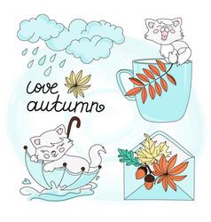 rain and cat autumn set vector image