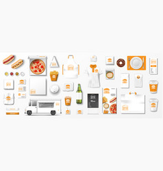realistic fast food mockup set top view vector image