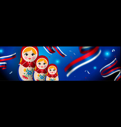 Russian doll web banner for russia sport event vector