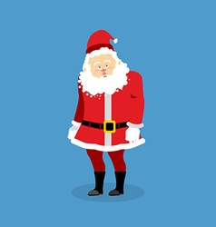 Sad Santa Claus Grandfather with beard in red suit vector image