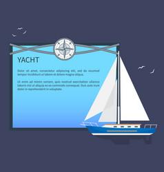 Sail yacht colorful card vector