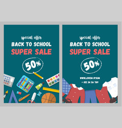 sale flyer set of school supplies and uniform flat vector image