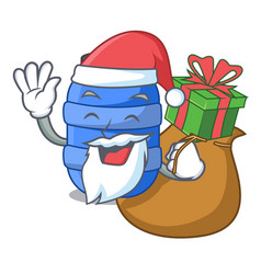 Santa with gift plastic barrel container for fish vector
