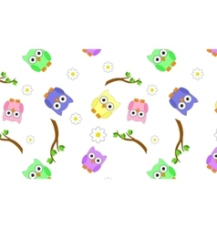 Seamless branches with owls vector image