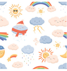 seamless weather pattern with cute smiling faces vector image