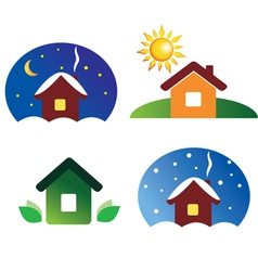 Set house icons different season and weather vector