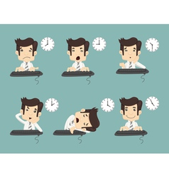 Set of businessman working time vector