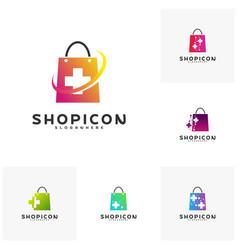 set of health plus shop logo template design vector image