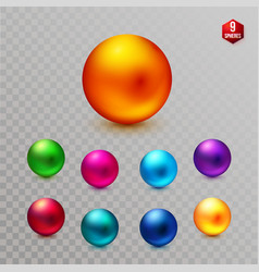 Set of multicolored decorative dimensional spheres vector