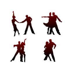silhouettes four dancing couples vector image