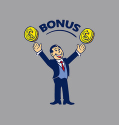 simple businessman get bonus vector image