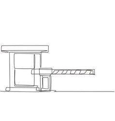 Single continuous line drawing a striped barrier vector