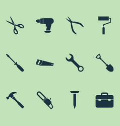 Tools icons set with digging spanner turn-screw vector
