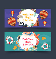 Tourism day banner design with colorful balloon vector