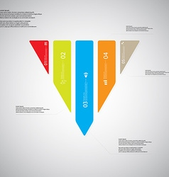 Triangle template consists of five color parts on vector