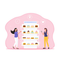 Two female characters are ordering cakes online vector