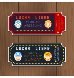 Vintage Lucha Libre tickets with mexican vector