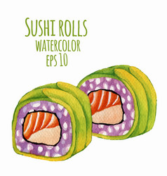 watercolor style of sushi vector image