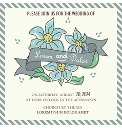 wedding invitation blue flowers and ribbon vector image