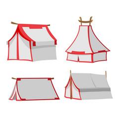 White tent isolate design set vector