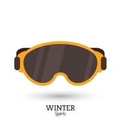 Winter sport yellow mask ski icon vector