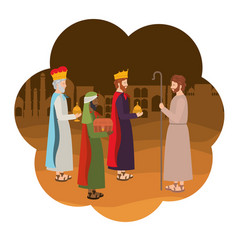 Wise kings with saint joseph manger characters vector