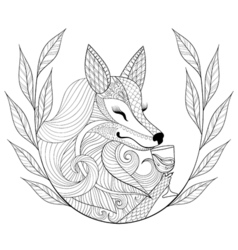 Zentangle Fox with glass of wine in monochrome vector