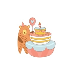 Bear And A Giant Birthday Cake vector image vector image